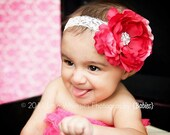 Valentine's Day Headband-Fuschia and pink flower headband with rhinestones: Baby, Newborn, Infant, Toddler, Girl, Flower girl, Bridesmaids