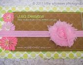 Light pink flower baby headband: Newborn, Infant, Toddler, Girl