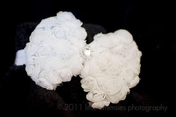 White chiffon rosette bow headband : White rose bow with rhinestone center on a satin headband - Newborn, Infant, Toddler, Girl
