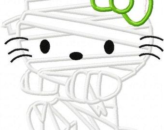 kitty mummy halloween applique design instant download