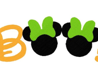 Minnie and Mickey Mouse Boo words set of 2 embroidery applique designs instant download