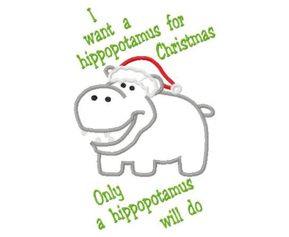 Hippo for Christmas embroidery applique design instant download