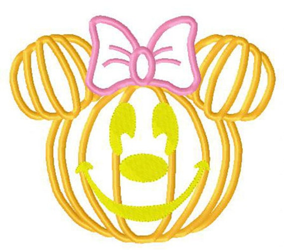 Halloween embroidery Minie and Mr Mouse pumpkin heads set of 2 applique designs instant download