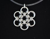 Flower Pendant Choker  - Stainless Steel - Chainmaille  Simple and Elegant gothic