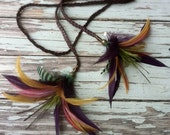 Lily Feather Flower on Braided Leather Headband