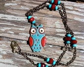Ceramic owl necklace turquoise and red