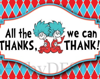 Argyle Dr. Seuss Thing 1 Thing 2 PRINTABLE Thank You Cards