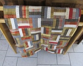 All Wool Autumn Colors Reversible Patchwork Quilt from recycled clothes