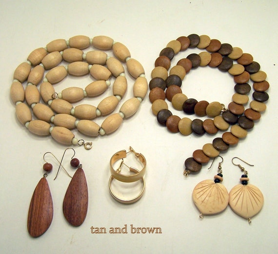 Vintage Jewelry Necklaces Bracelets Earrings Tan and Brown 1960's WOOD