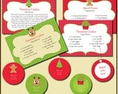 Christmas Baking Kit Printable Recipe Cards and Gift Tags with Editable Text - Instant Download