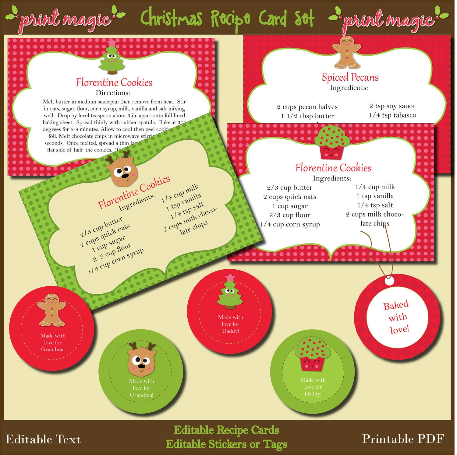 Christmas Baking Kit Printable Recipe Cards and Gift by ...