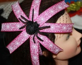 Purple-Pink Spider Web Ribbon Headband with a Black Birdcage Veil and Big Black Spider