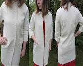 1960s Cream Overcoat / Wedding jacket / peter pan collar / vintage outerwear
