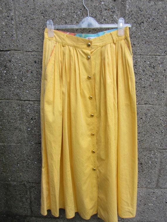 80s HIGH WAIST  Vintage Midi Skirt in sunny Yellow