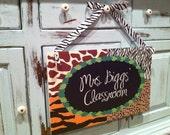 Custom Teacher Classroom Door Sign with Bow - Safari Theme