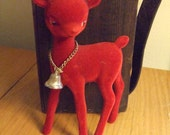 Santa's One Lonely Red Reindeer Inarco Japan Gold Glitter Antlers