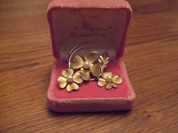 Brooch and Earrings Set Princess Majorca Simulated Pearls Pretty Pink Box