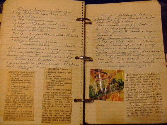 Recipes Handwritten Vintage Binder Notebook Clippings Nice Lot