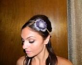 "Ivory Tulle & Plum Cotton ""April"" Headband"