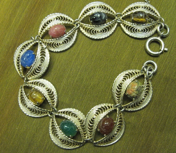 Scarab Gold Filled Filigree Bracelet FREE SHIPPING