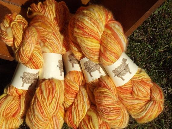 Hand dyed, hand spun yarn - 5 skeins