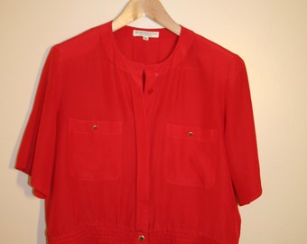 Red Collarless Button Up Blouse