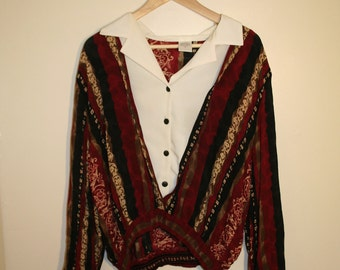 Red and Blue Pattern Blouse with Stitched In Shirt