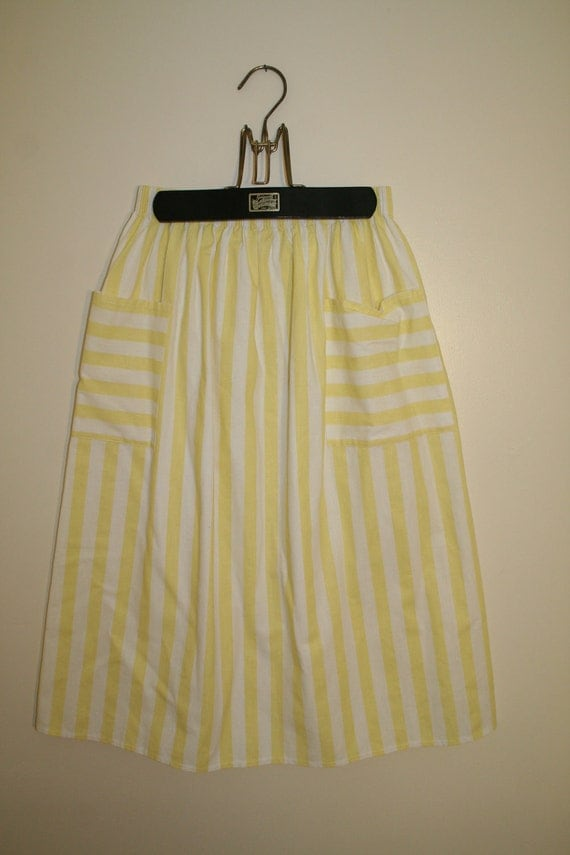 1970's Cotton Yellow and White Striped Midi Skirt