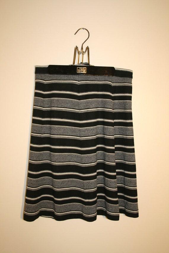 1960 s striped grey black and white midi skirt