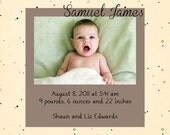 Samuel - Baby Boy Photo Birth Announcement - Digital File, You Print OR I Print