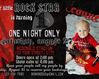 Rock Star Custom Birthday Invitation - Digital File, You Print OR I Print