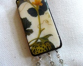 Vintage Domino Pendent--Melon Blossom