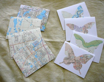 "Vintage Map Butterfly Cards and Map Envelopes-- 4 1/4"" x 5 1/2"", white"