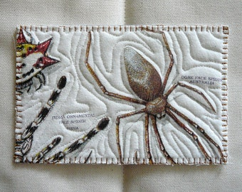 Vintage T-Shirt Quilted Postcard--More spiders