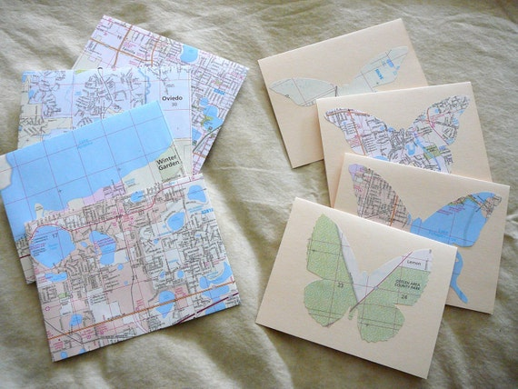 """Vintage Map Butterfly Cards and Map Envelopes-- 4 1/4"""" x 5 1/2"""", cream"""