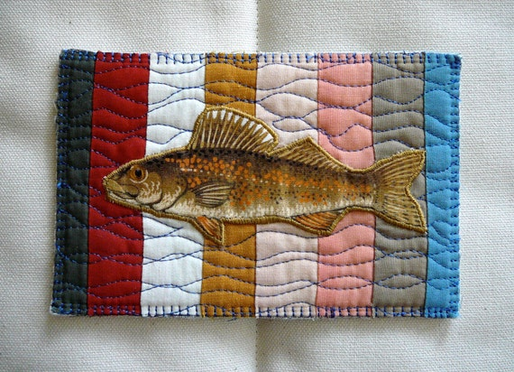 """Recycled Bits Quilted Postcard--""""Striped Tan Fish:3"""""""