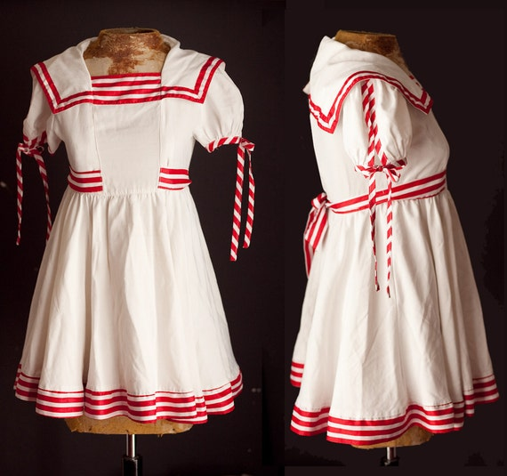 1950s Child Size Sailor Dress / Unique Vintage Girls Halloween Costume / Full Skirt Petticoat Stripe Trim / Childrens Clothing childsize