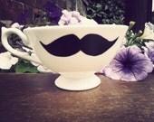 Mr Teacup's hand drawn moustache teacup.