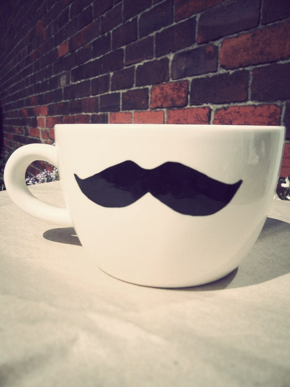 Mr Teacup's hand drawn moustache mug. Geeks only - last one