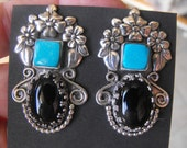 Sterling Silver Turquoise and Onyx Custom Made Pierced Earrings
