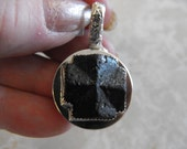 Custom Made Sterling Silver Staurolite Cross with  Heart Intarsia Cabochon - Double Sided Pendant