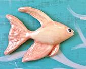 Goldfish in orange -- Ceramic chalkware fish, Retro Mid Century bathroom wall hanging