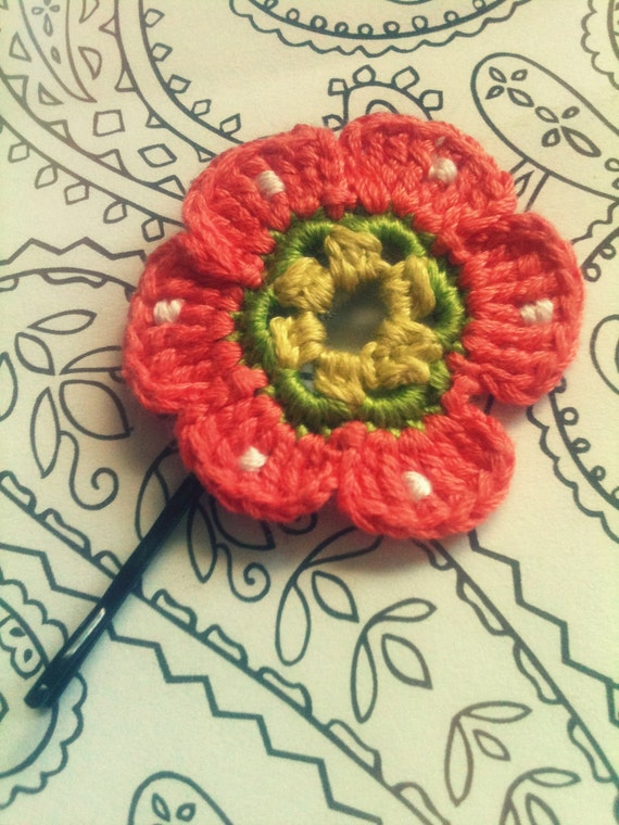 Peach Polka Dot Flower Pin