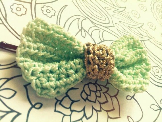 Crochet Bow Hair Pins, Candy Green and Gold