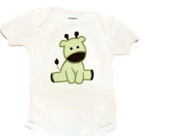 Baby bodysuit, Giraffe applique, Newborn Baby, Green Baby Bodysuit
