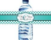 100 Polka Dot Water Bottle Labels -  Custom Wedding Water Bottle Labels