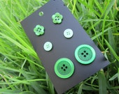 Button Studs - Earrings - 3 Pairs - Super Greens- Buy 2 cards get a 3rd Free :) - 13