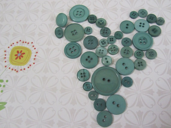Button Destash in Tealy Duck Egg Blue - 39  Mixed Sizes and Shapes