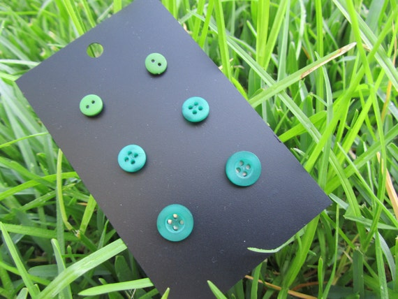 Button Studs - Earrings - 3 Pairs - Mini Green - Buy 2 cards get a 3rd Free :) - 02