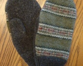 Upcycled - Recycled Mittens from Felted Wool Sweaters Striped Sage Green Womens or Mens